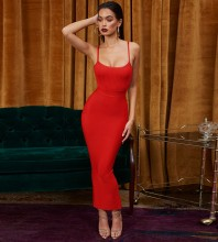 Red Strapy Sleeveless Maxi Bandage Dress PP1204-Red