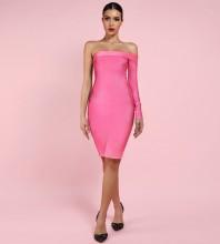Rose Off Shoulder Long Sleeve Over Knee Party Bandage Dress PP19025-Rose