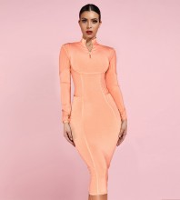 Orange Collar Long Sleeve One Piece Spliced Long High Quality Bandage Dress PP19026-Orange