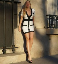 White V Neck Short Sleeve One Piece Spliced Striped Sexy Bandage Dress PP19029-White
