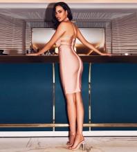 Nude High Neck Sleeveless Mini Backless High Quality Bandage Dress PP19038-Nude