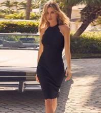 Black Halter Sleeveless Mini Rippled Edge Party Bandage Dress PP19042-Black