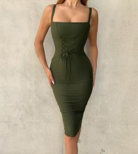 Green Strapy Sleeveless Over Knee Lace Up Bandage Dress PP19049-Green
