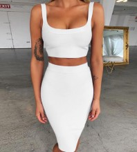 White Strappy Sleeveless Over Knee 2 Piece Bandage Dress PP19058-White