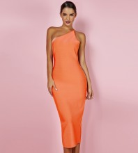 Orange One Shoulder Sleeveless Over Knee Backless Bandage Dress PP19091-Orange