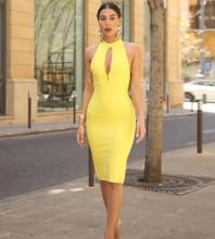 Yellow Slit Cutout Over Knee Sleeveless Halter Bandage Dress PP19096-Yellow