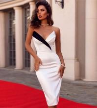 White Over Knee Sleeveless Strapless Bandage Dress PP19106-White