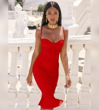 Red Striped Frill Over Knee Sleeveless Strappy Bandage Dress PP19123-Red