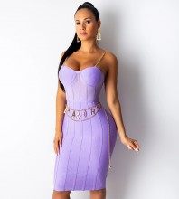 Purple Mesh Metal Shoulder Strap Over Knee Sleeveless Strappy Bandage Dress PP19138-Purple