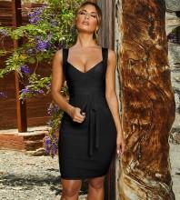 Black Lace Up Mini Sleeveless V Neck Bandage Dress PP19139-Black