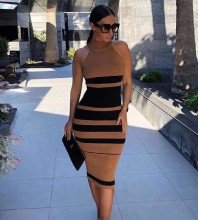 Brown Striped Over Knee Sleeveless High Neck Bandage Dress PP19160-Brown