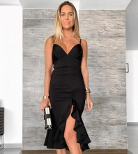 Black Slit Frill Over Knee Sleeveless Strappy Bandage Dress PP19201-Black