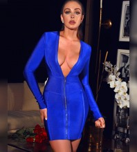 Mini Blue V Neck Long Sleeve Striped Zipper Bandage Dress PP19212-Blue