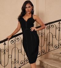Over Knee Black Halter Sleeveless Striped Backless Bandage Dress PP19217-Black