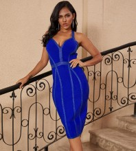 Over Knee Blue Halter Sleeveless Striped Backless Bandage Dress PP19217-Blue