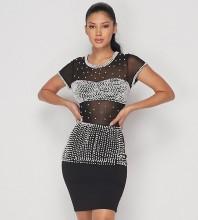 Mini Black Round Neck Short Sleeve Mesh Pearl Bandage Dress PP19220-Black