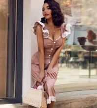 Over Knee Nude Strappy Sleeveless Frill Button Bandage Dress PP19221-Nude