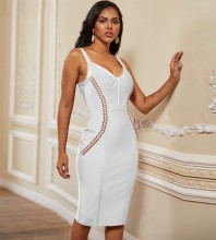 Over Knee White Strappy Sleeveless Striped Metal Ornamental Buckle Bandage Dress PP19228-White