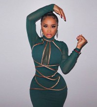Green Mesh Striped Mini Long Sleeve High Neck Bandage Dress PP19232-Green