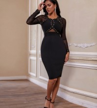 Over Knee Black Round Neck Long Sleeve Mesh Rhinestone Bandage Dress PP19239-Black