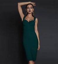 Over Knee Dark Green Strappy Sleeveless Striped Backless Bandage Dress PP19257-Dark-Green