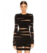 Mini Black Round Neck Long Sleeve Mesh Cutout Bandage Dress PP19272-Black