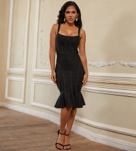 Black Striped Frill Over Knee Sleeveless Strappy Bandage Dress PP19278-Black