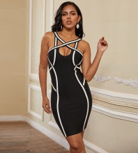 Black Striped Cutout Mini Sleeveless Strappy Bandage Dress PP19279-Black