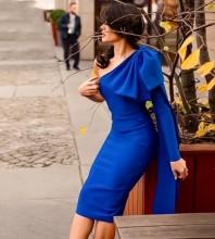 Royal Blue Bowknot Asymmetrical Midi Long Sleeve One Shoulder Bandage Dress PP19348-Royal-Blue