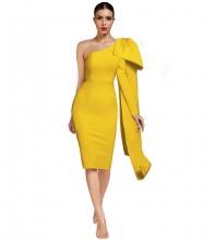 Yellow Frill Asymmetrical Midi Long Sleeve One Shoulder Bandage Dress PP19348-Yellow