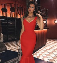 Strappy Red Sleeveless Over Knee Fishtail Backless Bandage Dress PP19352-Red
