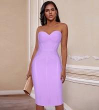 Purple Strapless Backless Sleeveless Over Knee Striped Bandage Dress PP19357-Purple