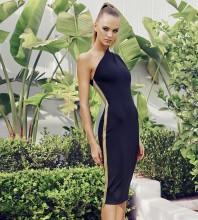 One Shoulder Black Sleeveless Knee length Tassels Asymmetrical Bandage Dress PP19366-Black