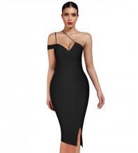 Black Slit Asymmetrical Midi Short Sleeve One Shoulder Bandage Dress PP19369-Black