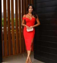 One Shoulder Red Sleeveless Over Knee Slit Asymmetrical Bandage Dress PP19369-Red