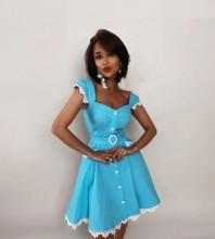 Blue Girdle Frill Mini Sleeveless Square Collar Bandage Dress PP19403-Blue