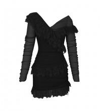 Black Mesh Frill Mini Long Sleeve Off Shoulder Bandage Dress PP19409-Black