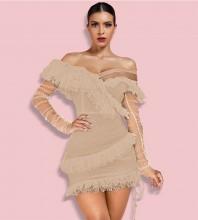 Brown Off Shoulder Long Sleeve Mini Frill Mesh Bandage Dress PP19409-Brown