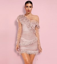 Pink Mesh Frill Mini Long Sleeve Off Shoulder Bodycon Dress PP19409-Pink