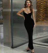 Black Strapless Sleeveless Maxi Backless Distinctive Bandage Dress PP19422-Black
