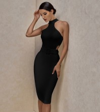 Black With Belt Hollow out Over Knee Sleeveless High Neck Bandage Dress PP19425-Black