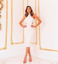 White With Belt Cut Out Over Knee Sleeveless High Neck Bandage Dress PP19425-White