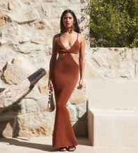 Brown Distinctive Exposed Waist Maxi Sleeveless Strappy Bandage Dress PP19427-Brown