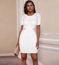 White Mesh Striped Mini Short Sleeve Round Neck Bandage Dress PP20004-White