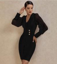 Black Mesh Metal Studded Mini Long Sleeve V Neck Bandage Dress PP20005-Black