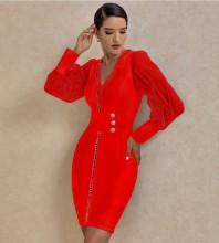 Red Mesh Metal Studded Mini Long Sleeve V Neck Bandage Dress PP20005-Red