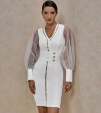 White Metal Studded Mesh Mini Long Sleeve V Neck Bandage Dress PP20005-White