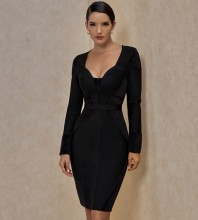 Black Distinctive Striped Midi Long Sleeve Square Collar Bandage Dress PP20006-Black