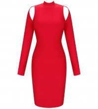 Red Backless Cut Out Over Knee Long Sleeve High Neck Bandage Dress PP20009-Red