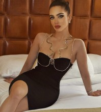 Black Backless Rhinestone Mini Sleeveless Strappy Bandage Dress PP20013-Black